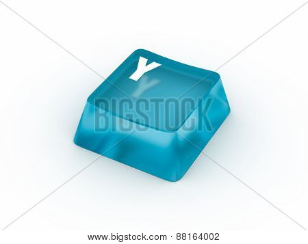 Letter Y on transparent keyboard button