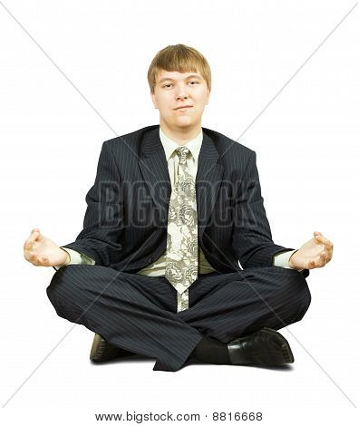 Businessman  In Yoga Lotus Pose