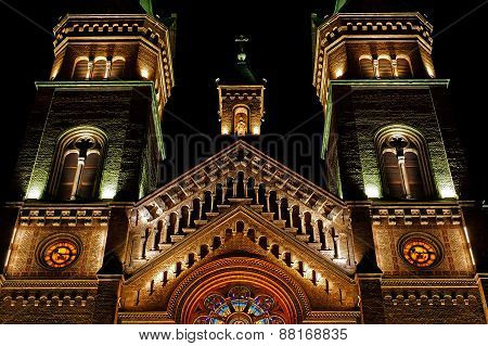 Various Night Lighting Of The Cathedral Millenium From Timisoara, Romania 4