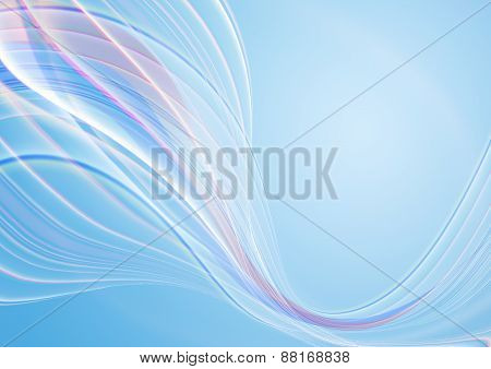 Blue background covered with divergent white stripes and pink waves