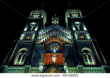Various Night Lighting Of The Cathedral Millenium From Timisoara, Romania 1