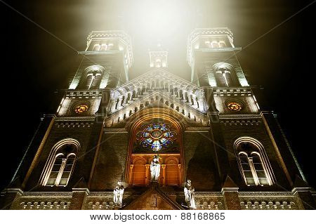 Mystycal Light At The Cathedral Millenium Located In Timisoara, Romania