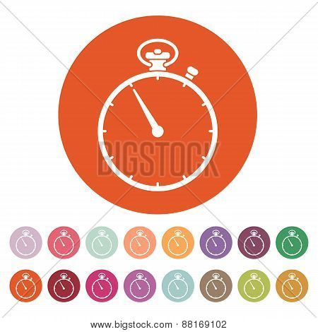 The Stopwatch Icon. Stopwatch Symbol. Flat. Vector