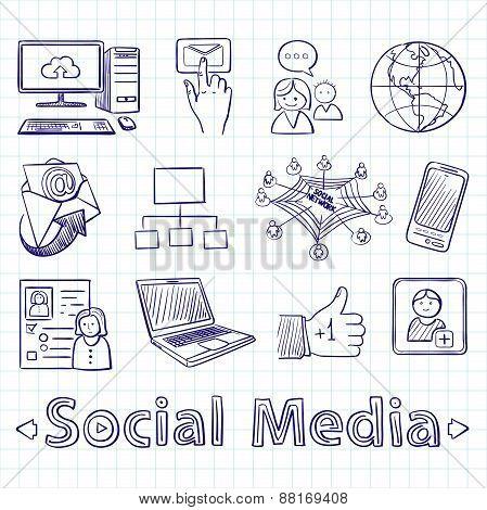 Hand drawn social media icon set