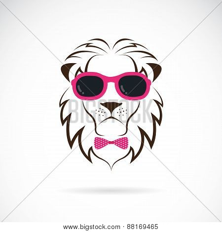 Vector Images Of Lion Wearing Sunglasses On White Background.