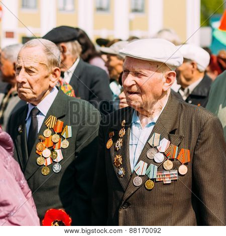 Unidentified veterans during the celebration of Victory Day. MIN