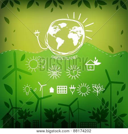 Illustrations with icons of ecology, environment, green energy and pollution
