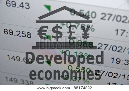 Building icon with major currencies sign and inscription developed economies