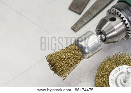 Power Drill Head With Rotating Brass Brushes