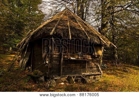 Wooden mountain hut at sunny autumn day, Radocelo mountain