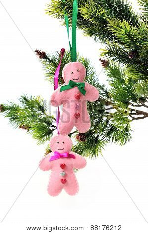 Decoration For Christmas. Toy Handmade Gingerbread Man Handmade On The Tree