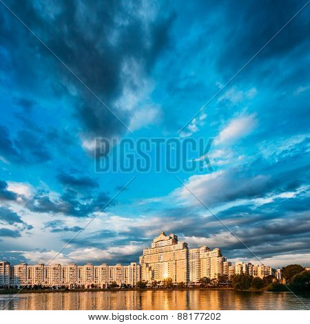 Building In Old Part Minsk, Downtown Nyamiha, Nemiga View With S