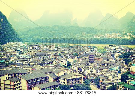 Buildings and mountain landscape of west street in yangshuo(the famous destination in china)