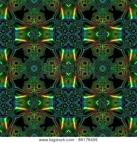 Abstract Seamless Blue Green Metallic Viking Like Pattern