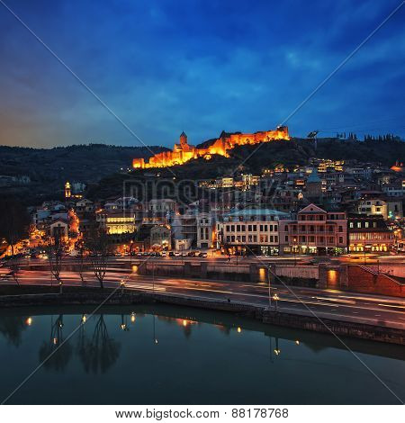 Aerial night view of Old Tbilisi