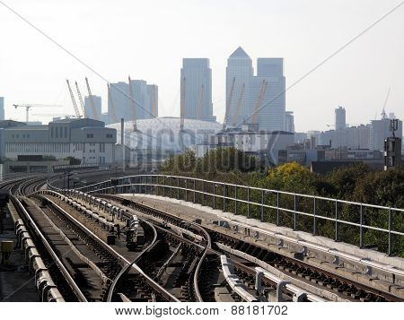 View from a Docklands Light Railway station of Canary Wharf