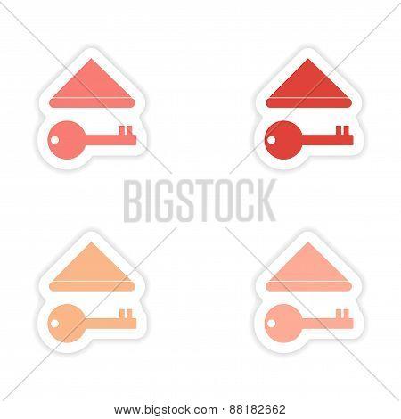assembly realistic sticker design on paper keys