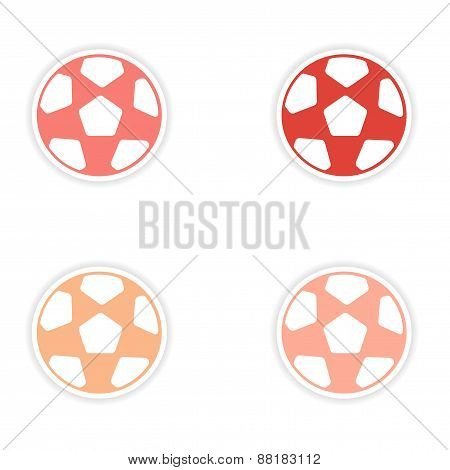 assembly realistic sticker design on paper football