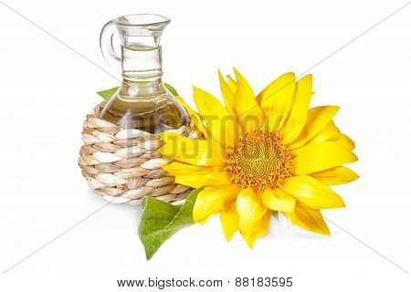 Flower Of A Sunflower And Small Bottle With The Vegetable Oil