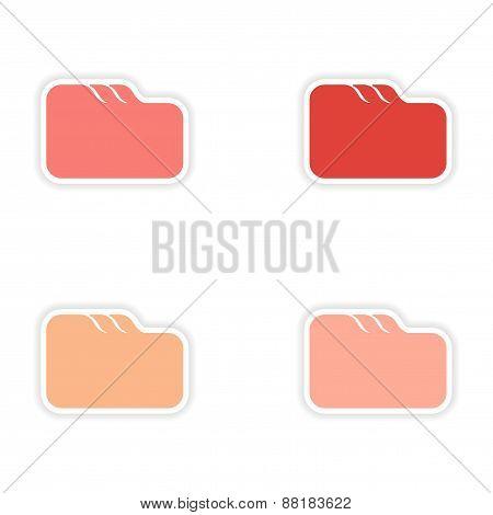 assembly realistic sticker design on paper file folder