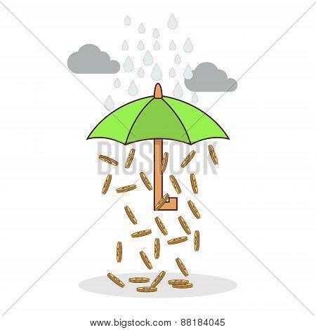 Isolated cartoon investment umbrella