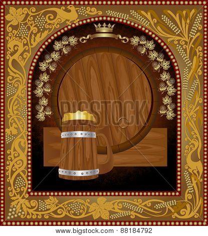 barrel advertising wine beer banner