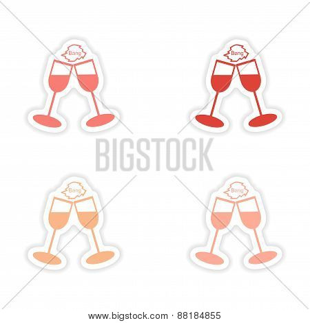 assembly realistic sticker design on paper wineglasses