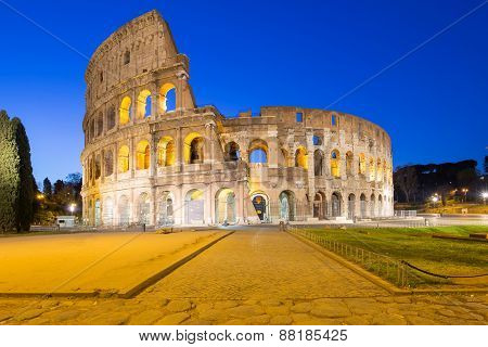 Twilight Of Colosseum in Rome, Italy
