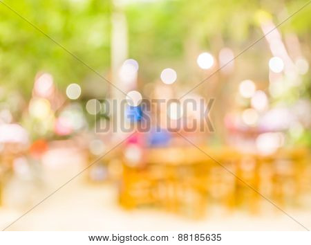 Blur Image Of Out Door Restaurant