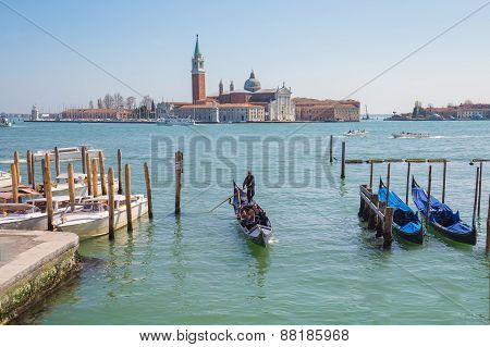 The Grand Canal With Gondola In Venice, Italy.