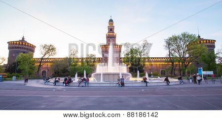 Twilight Of Sforza Castle In Milan, Italy