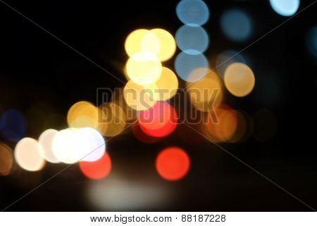 Bokeh of the color night light, blurred background. Colorful Background with defocused lights.