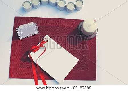 Celebratory Decorated Table With Paper Card And Candles. Wedding, Banquet, Holiday Background - Conc