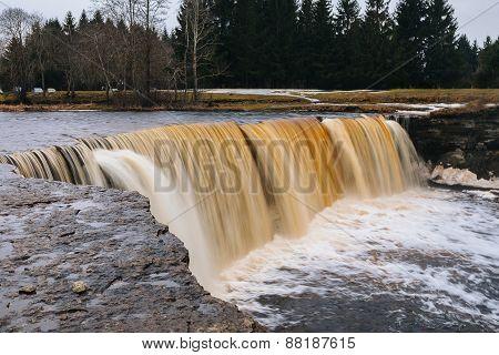 Estonian waterfall at spring