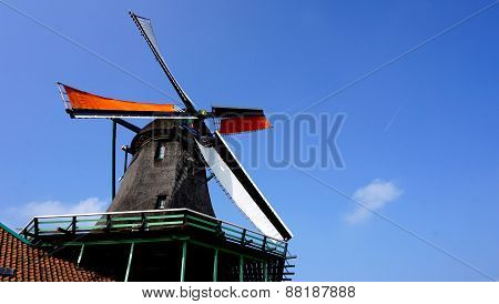 Windmills And Blue Sky Background In Holland