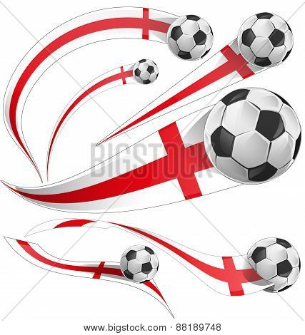 England  Flag Set With Soccer Ball