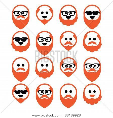 Bald man with ginger beard and mustache icons set