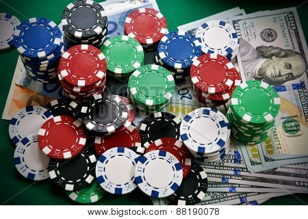 Poker Chips And Money