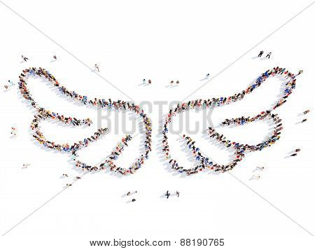 people in the form of wings.