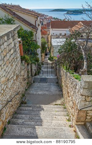 Narrow Alley Of Hvar, Croatia