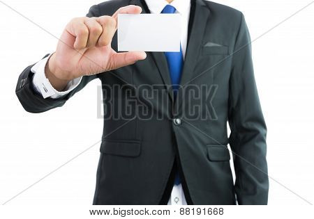 Businessman Hand Showing Business Card Or Note Paper Isolate