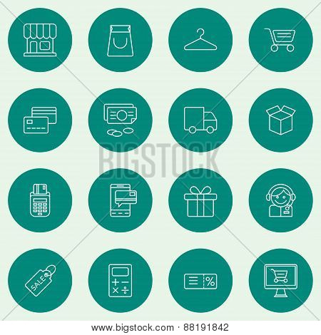 Set Of Thin Line Business And Shopping Icons. Vector Illustration