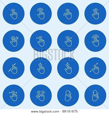Set Of Thin Line Touch Gestures Icons. Vector Illustration