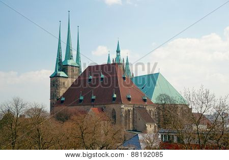 View Of St. Severus' Church From Petersberg, Erfurt, Germany