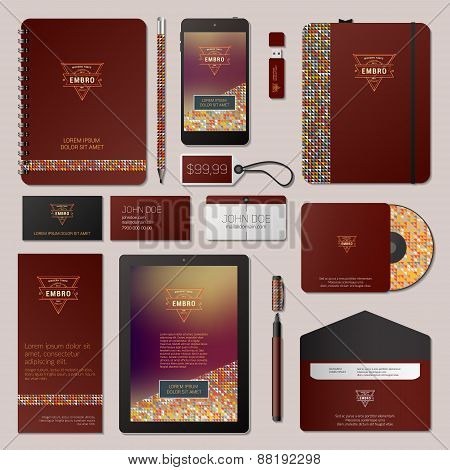 Modern Vector Corporate Identity Template Design With Thin Line Logotype And Colorful Background