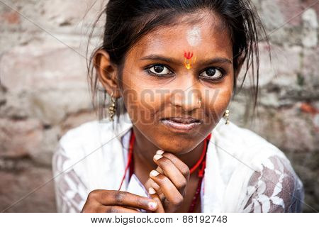 The portrait of smiling indian girl