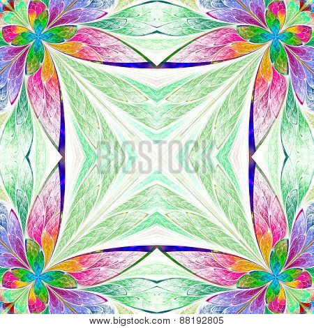 Symmetrical Multicolored Flower Pattern In Stained-glass Window Style On Light.  Computer Generated