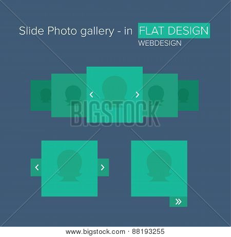 Flat Ui Kit Design Elements For Photo Gallery