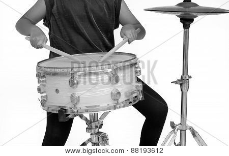 Drum Isolate With White Background - Black And White Color