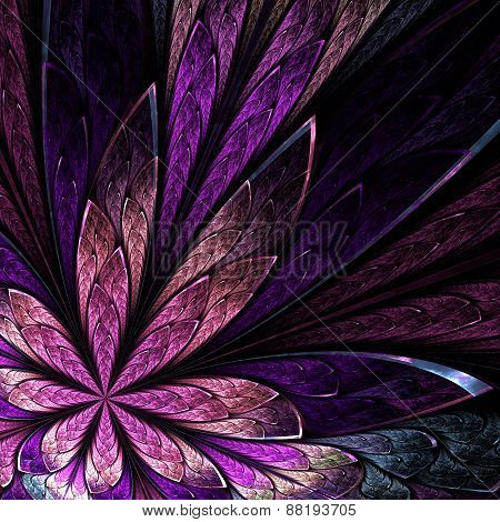 Asymmetrical Fractal Flower In Stained-glass Window Style On Black. Pink And Purple Palette. Compute
